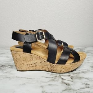 Sears I Love Comfort Black Leather Wedge